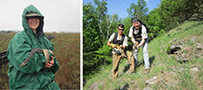 Lisa Gelvin-Innvaer (left) holds a bullsnake on the prairie as part of a study to learn more about these super beneficial snakes Jaime Edwards (right) shows off a bullsnake while CCM crew member, Dylan Olson, holds a hognose snake in a bluff prairie in southeast Minnesota