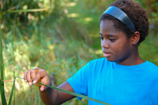 A girl admires a Cope's gray tree frog on her hand at Glendalough State Park