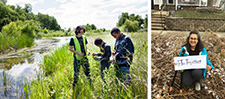 Left: Even superheroes need to take a break to learn some new skillz on the prairie (Urban Roots' youth learn native prairie plants). Right: DNR's Diversity Coordinator, Rowzat Shipchandler kneels in her boulevard prairie garden.