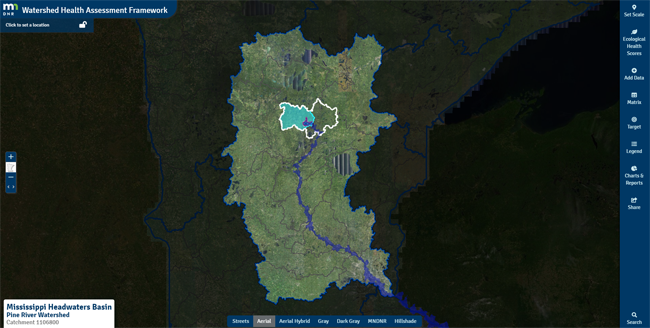 Nested watershed scales for Pine River watershed