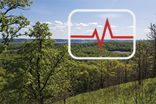 Lake Pepin landscape overlaid with heart monitor icon; symbolizing measures of ecological well-being.