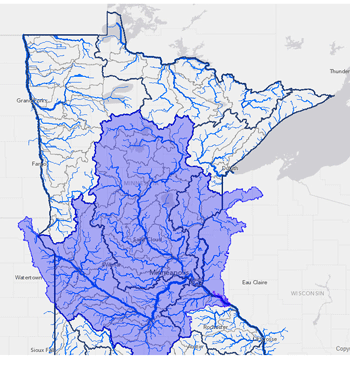 Lake Pepin upstream watershed map