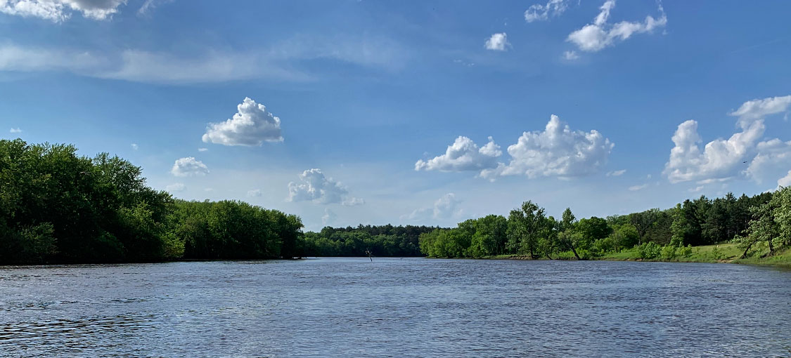 Mississippi River and wooded shorelines.