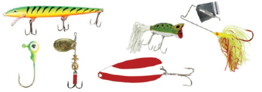 Common artificial fishing lures used in Minnesota.