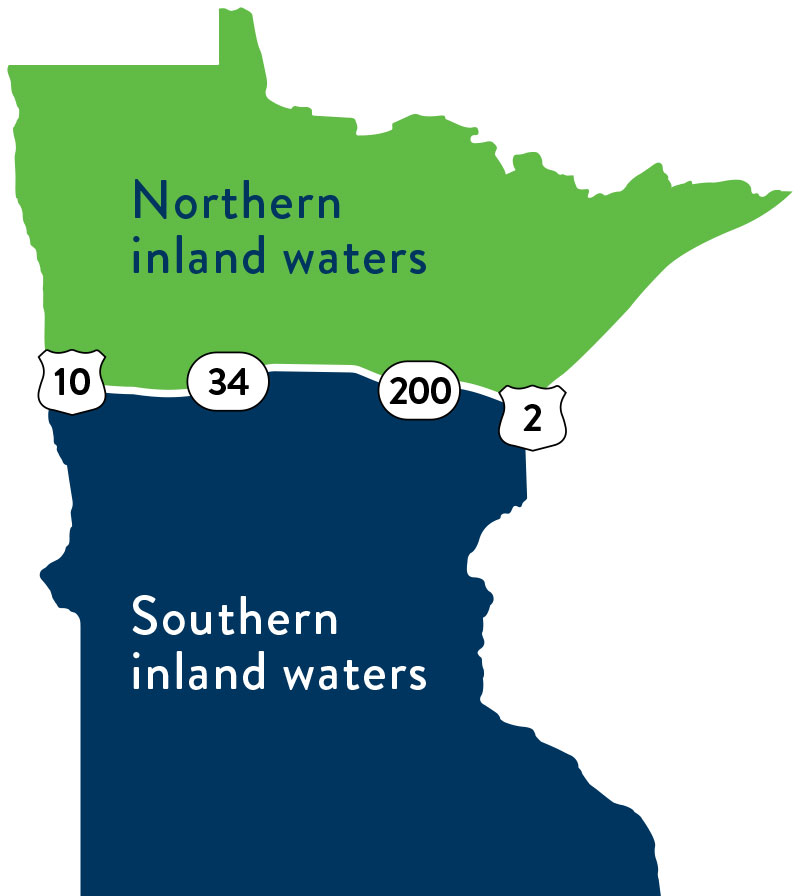 map of line dividing northern and southern inland waters