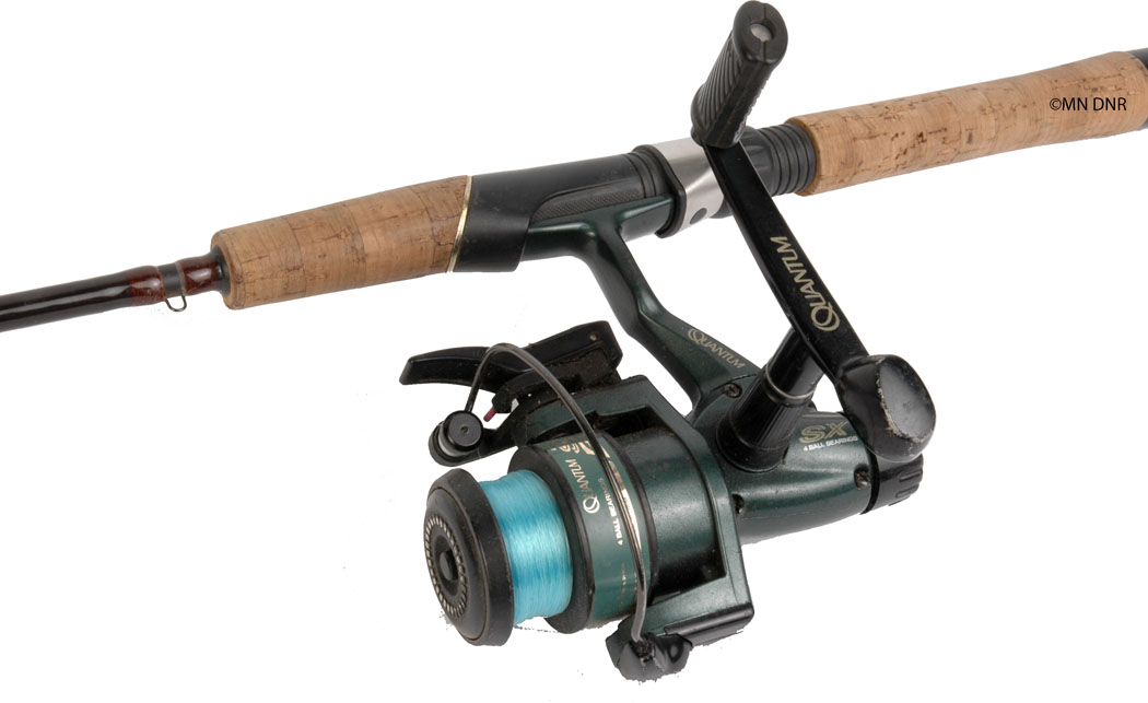 Photo of an open-faced spincast rod and reel