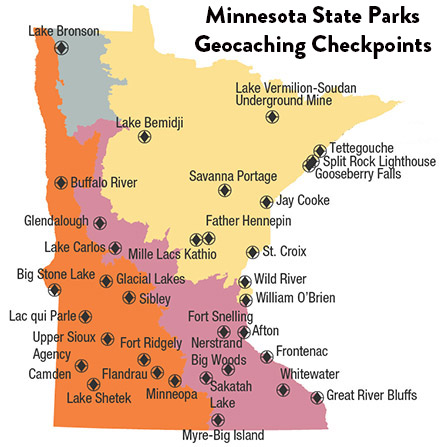 Map of Minnesota highlighting the state parks with loaner units