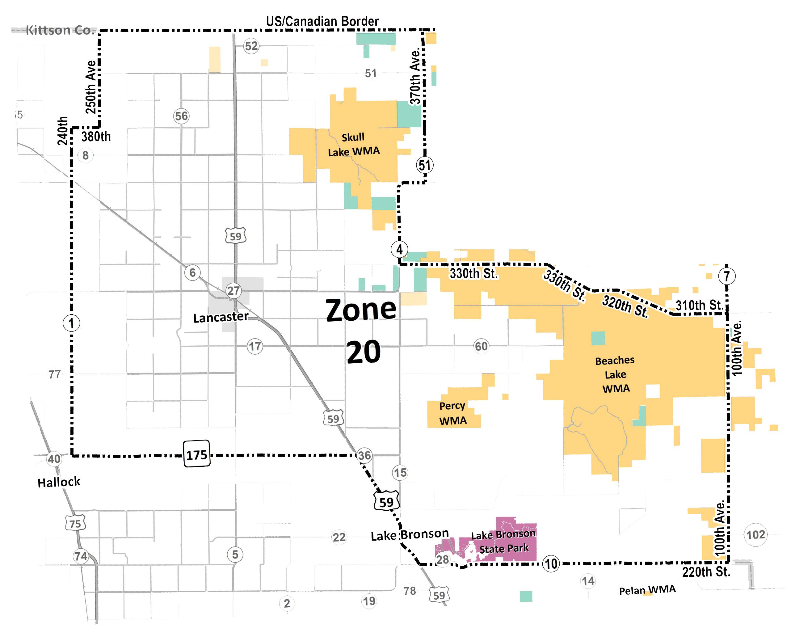 Map showing elk Zone 20