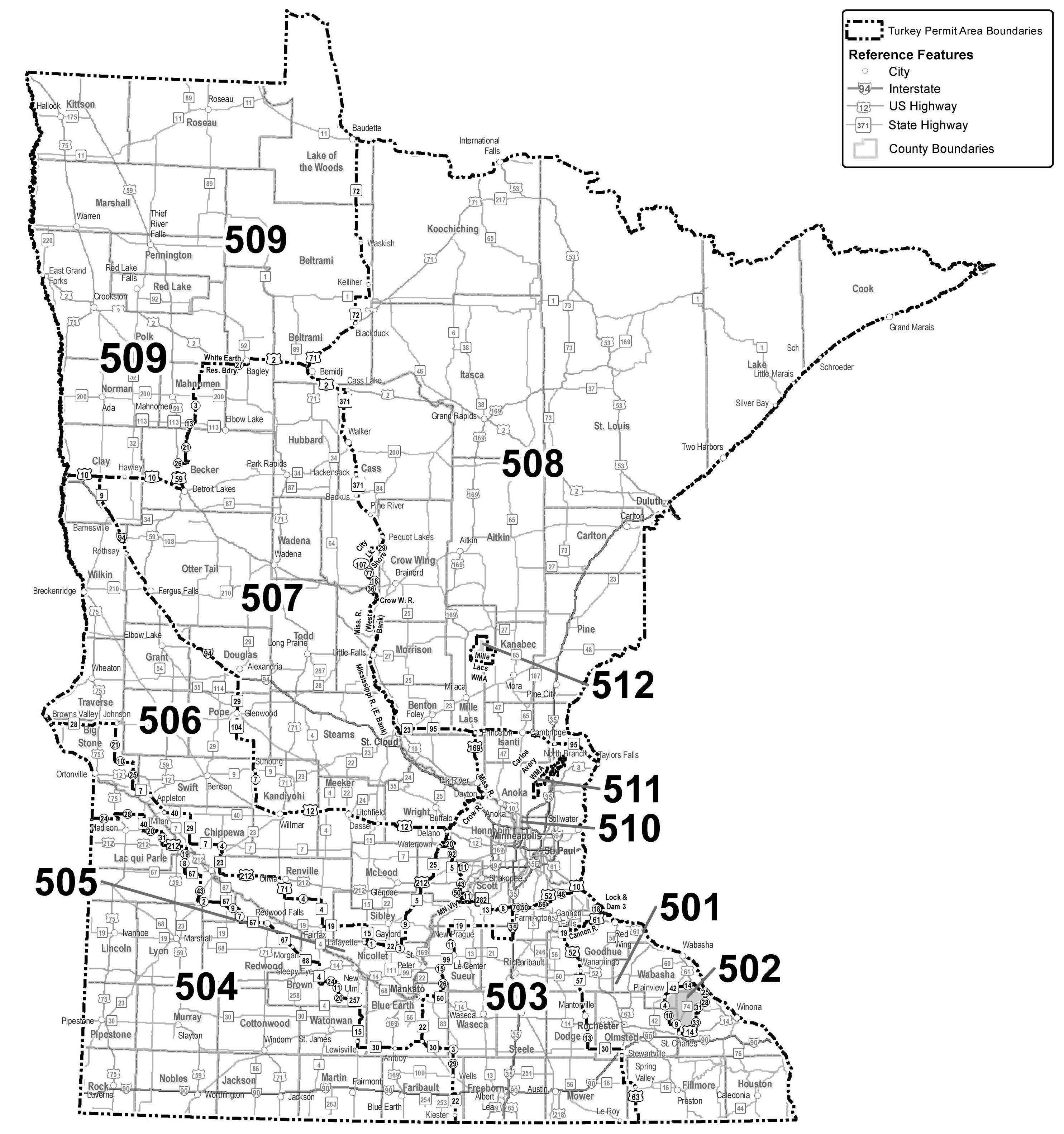 Map showing boundaries of Minnesota's wild turkey permit areas.