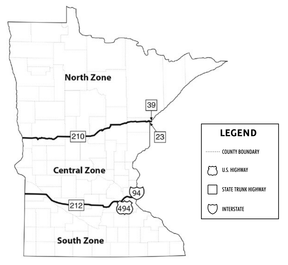 Map showing Minnesota's waterfowl hunting zones.