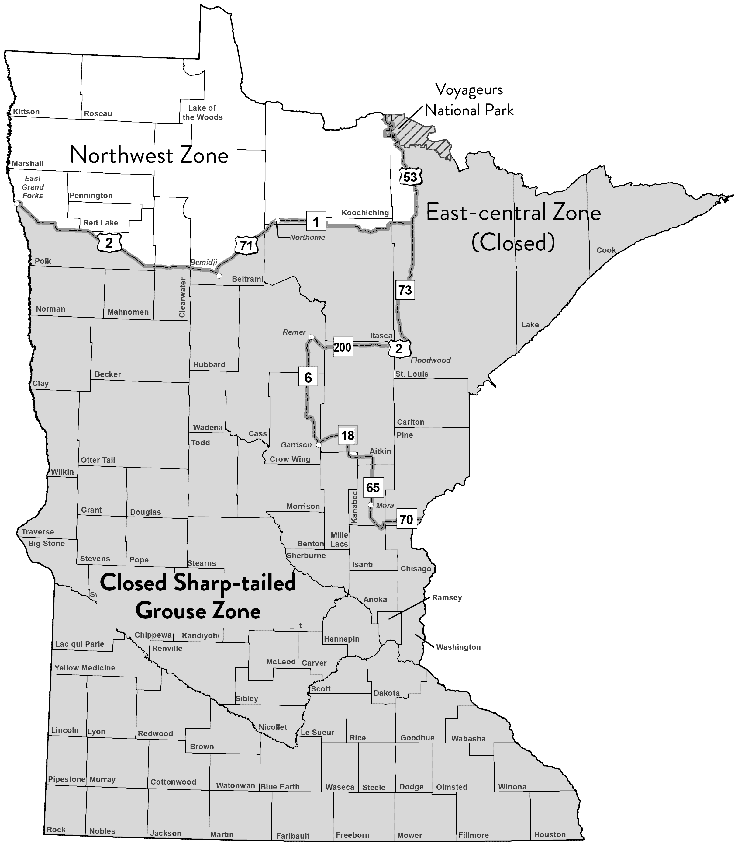 Map showing Minnesota's sharp-tailed grouse hunting zones.