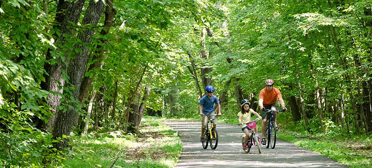 two visitors biking down a trail