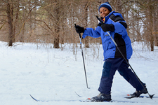 young boy cross-country skiing