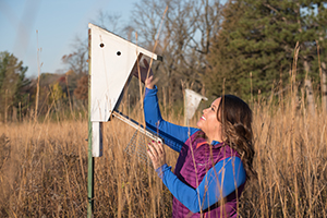 woman checking bluebird house