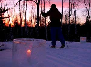 skiing by candlelight