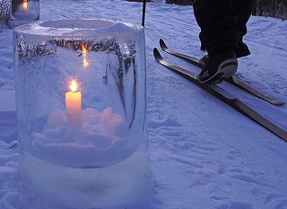 candle in an ice block