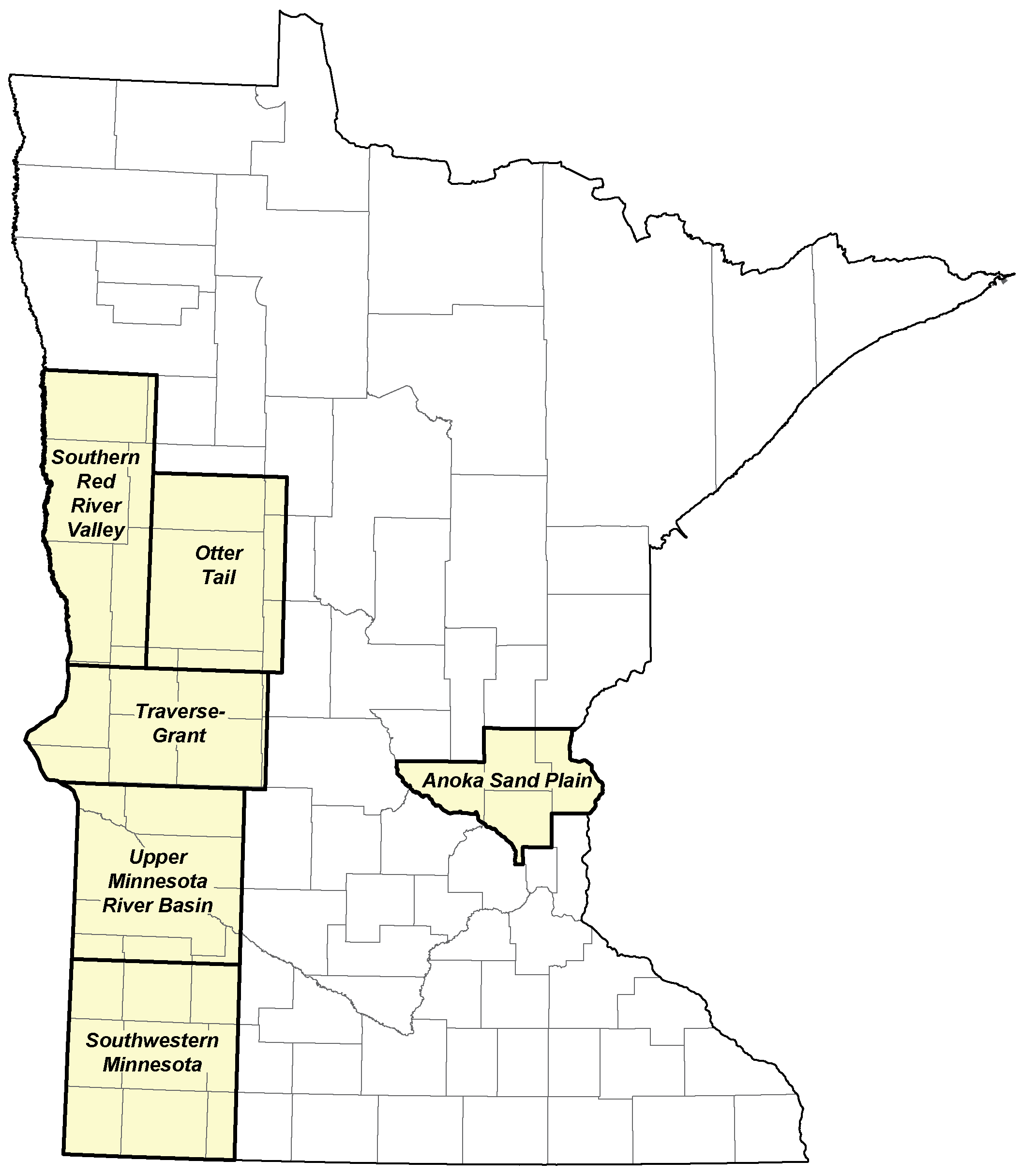 Minnesota map of hydrogeologic assessment areas