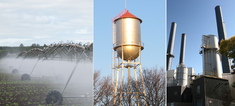 irrigation, a water tower and a factory