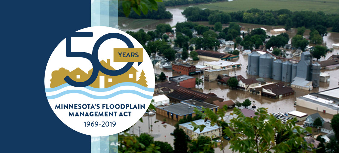 Floodplain 50th anniversary logo with a flooded town in the background