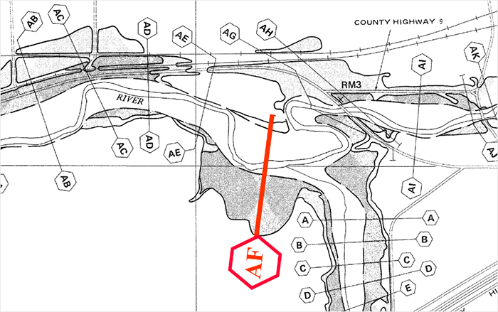 site located downstream of cross-section AF, as identified on the FIRM