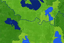 map showing green land with blue lakes