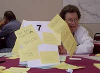 woman with group notes