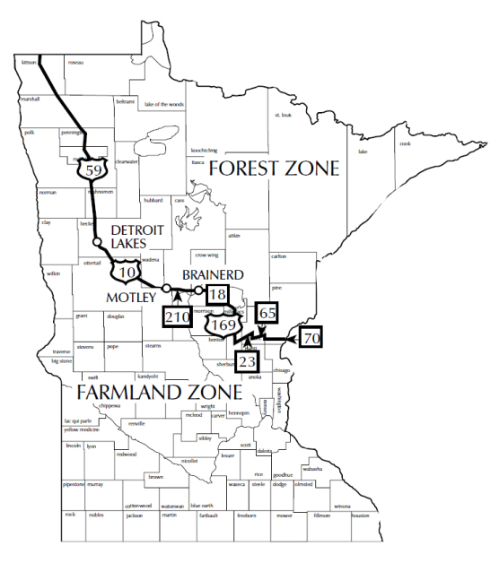 Map showing Minnesota's farmland zone