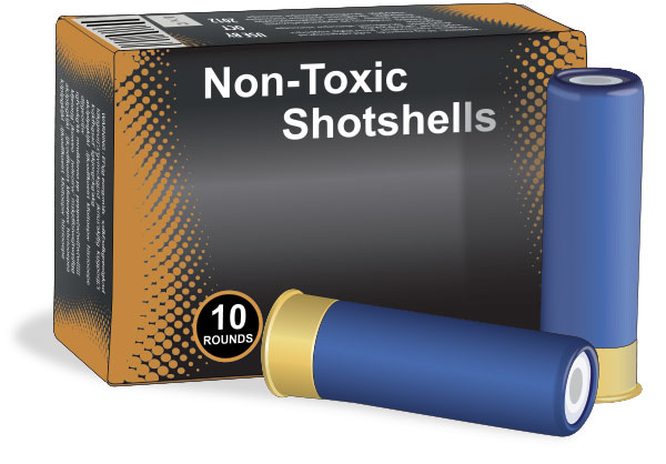 Box of shotgun shells containing non-toxic shot