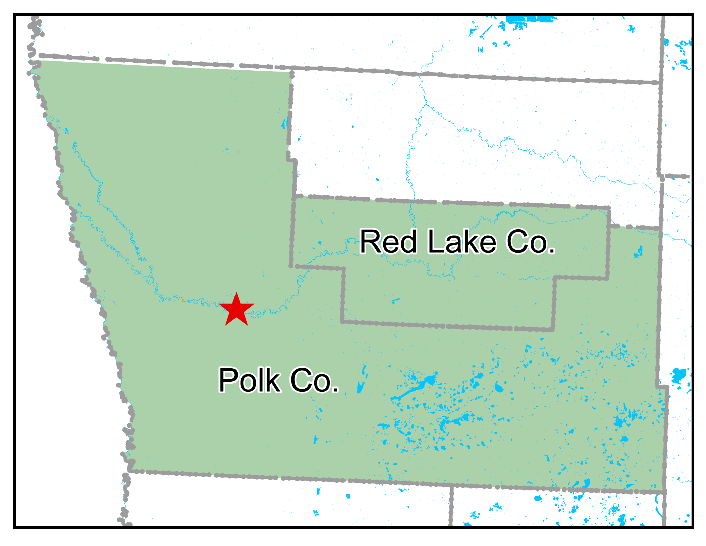 Map of Crookston work area