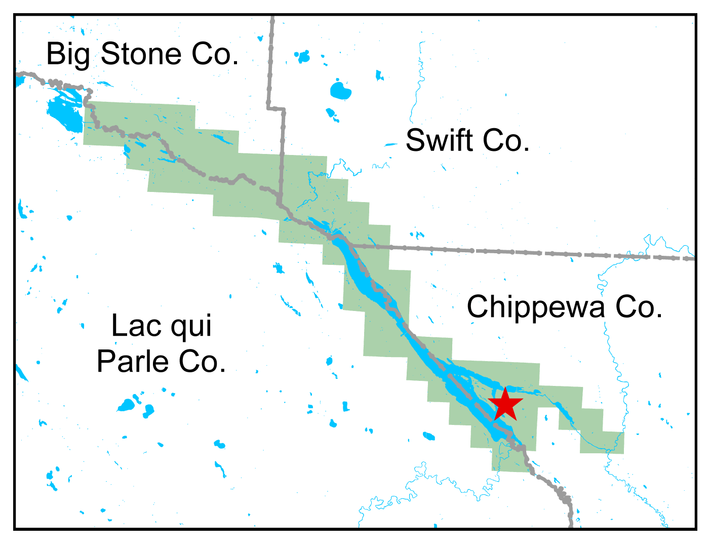 Map of Lac qui Parle WMA work area