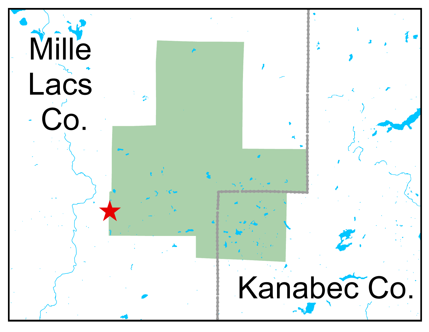 Map of Mille Lacs WMA work area