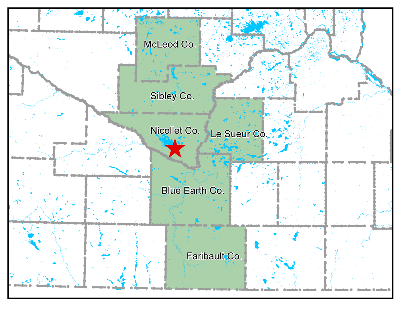 Map of Nicollet work area