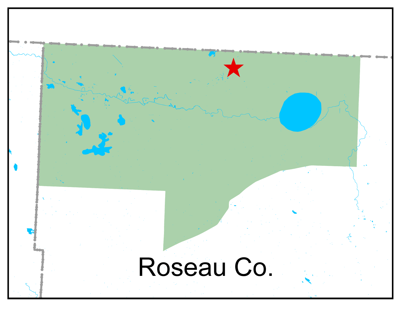 Map of Roseau River WMA work area