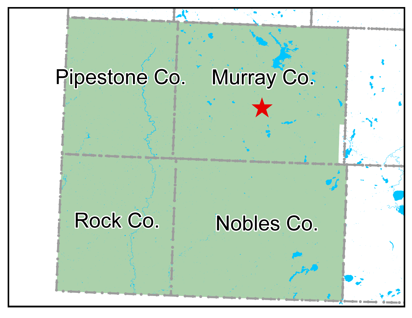 Map of Slayton work area