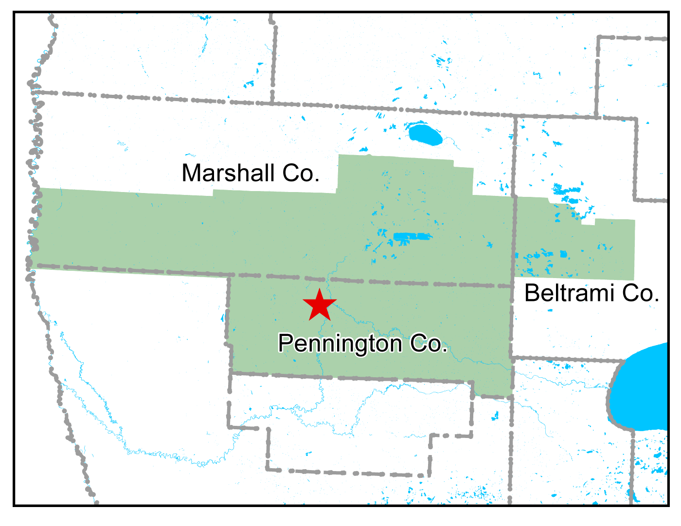 Map of Thief River Falls work area