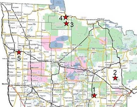 Map showing starred locations of viewing blinds for sharp-tailed grouse and prairie chickens.