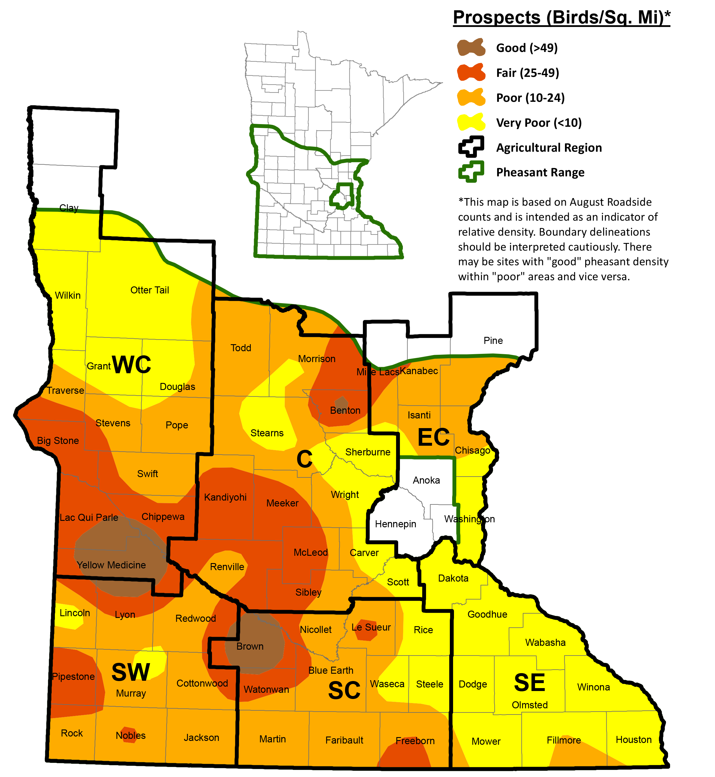Thumbnail image of map showing population estimates of pheasants in Minnesota.