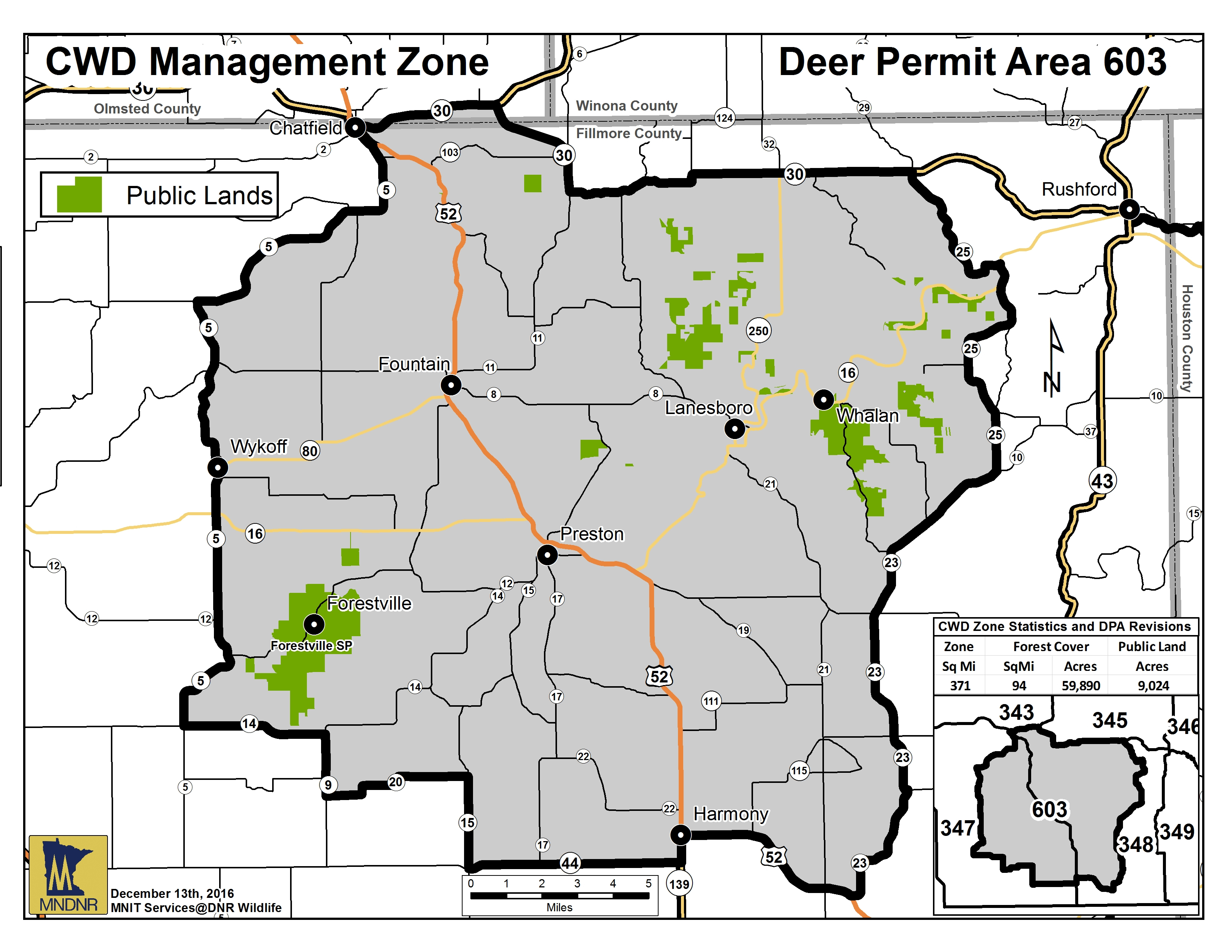 Map showing boundaries for CWD Management Zone in southeast Minnesota.