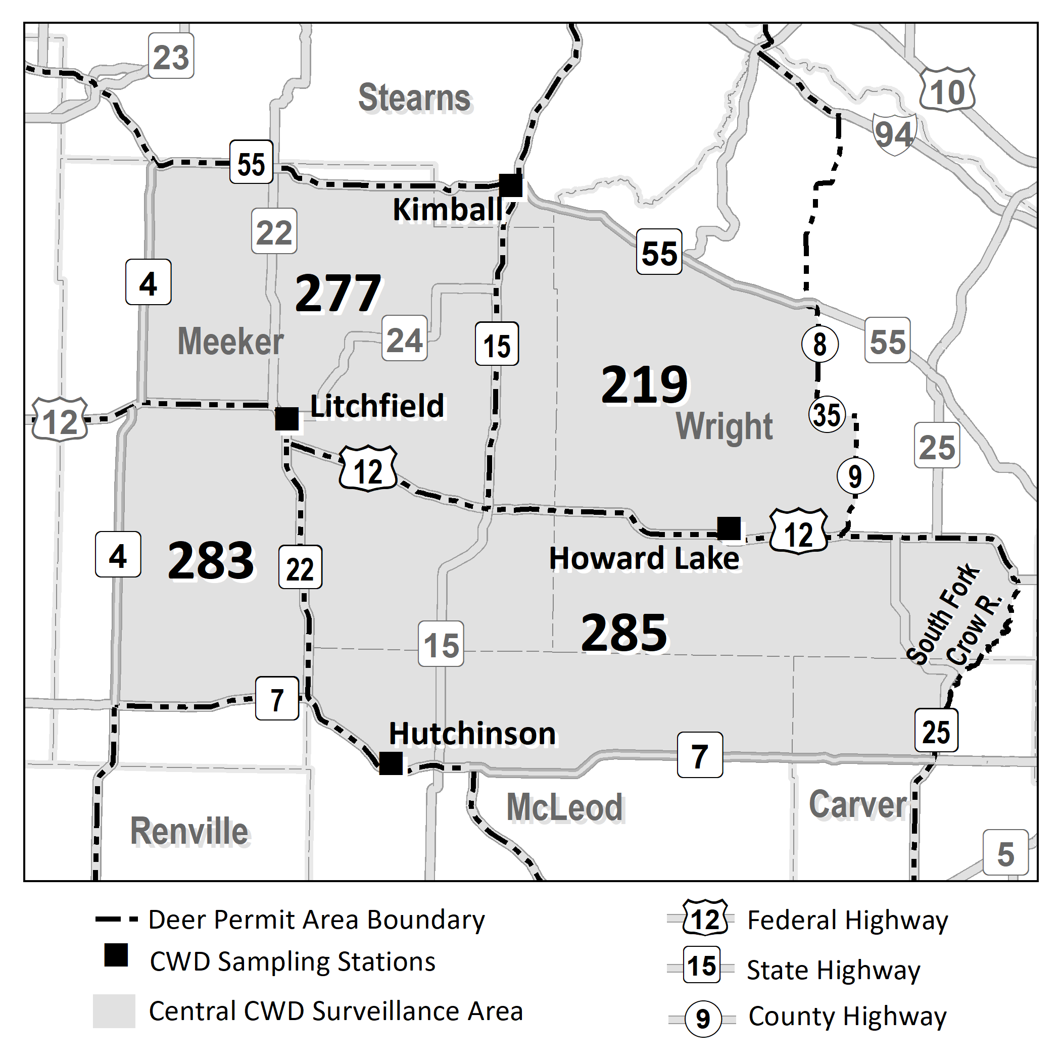 Map highlighting the DPAs included in the central CWD surveillance area (277, 283, 219, 285) and sampling stations.