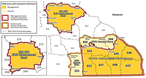 Map highlighting CWD managment zones in north central (DPA 604) and southeast (DPAs 643, 645, 646, 647, 648, 649, 655), and southeast control zone (DPAs 255, 343, 344).
