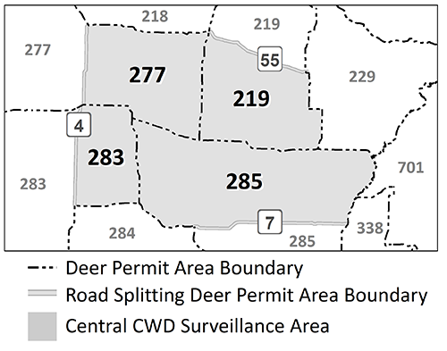 Map highlighting the DPAs included in the central CWD surveillance area: 277, 283, 219, 285.