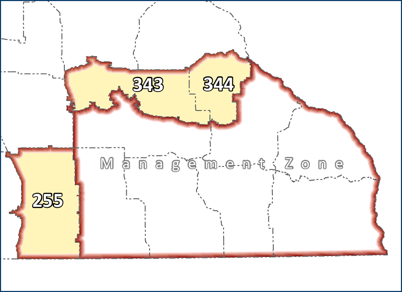 Map highlighting the DPAs included in the CWD control zone: 255, 343, 344.