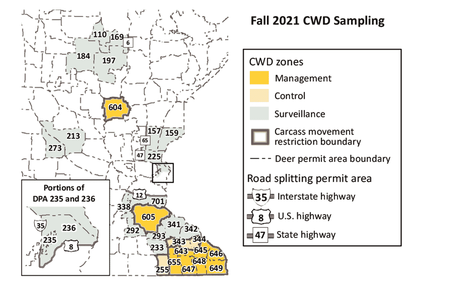 Map of portion of Minnesota showing the fall 2021 CWD zones.