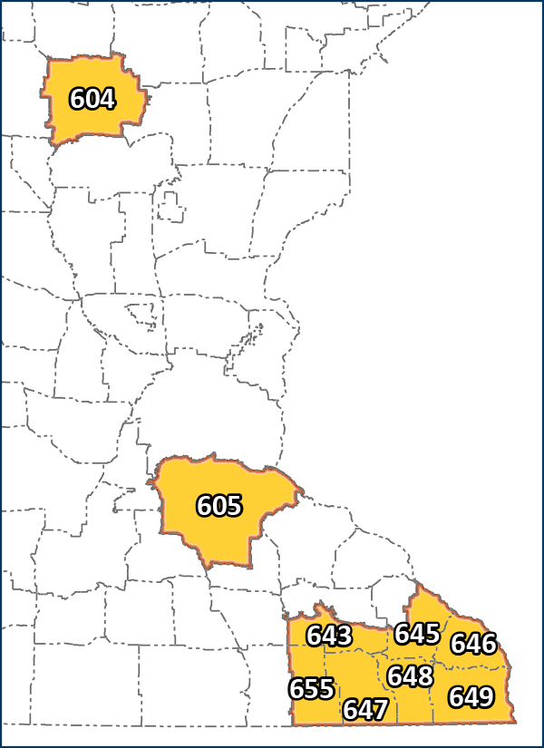 Map showing the DPAs in the CWD management zone: 604, 605, 643, 645, 646, 647, 648, 649, 655.