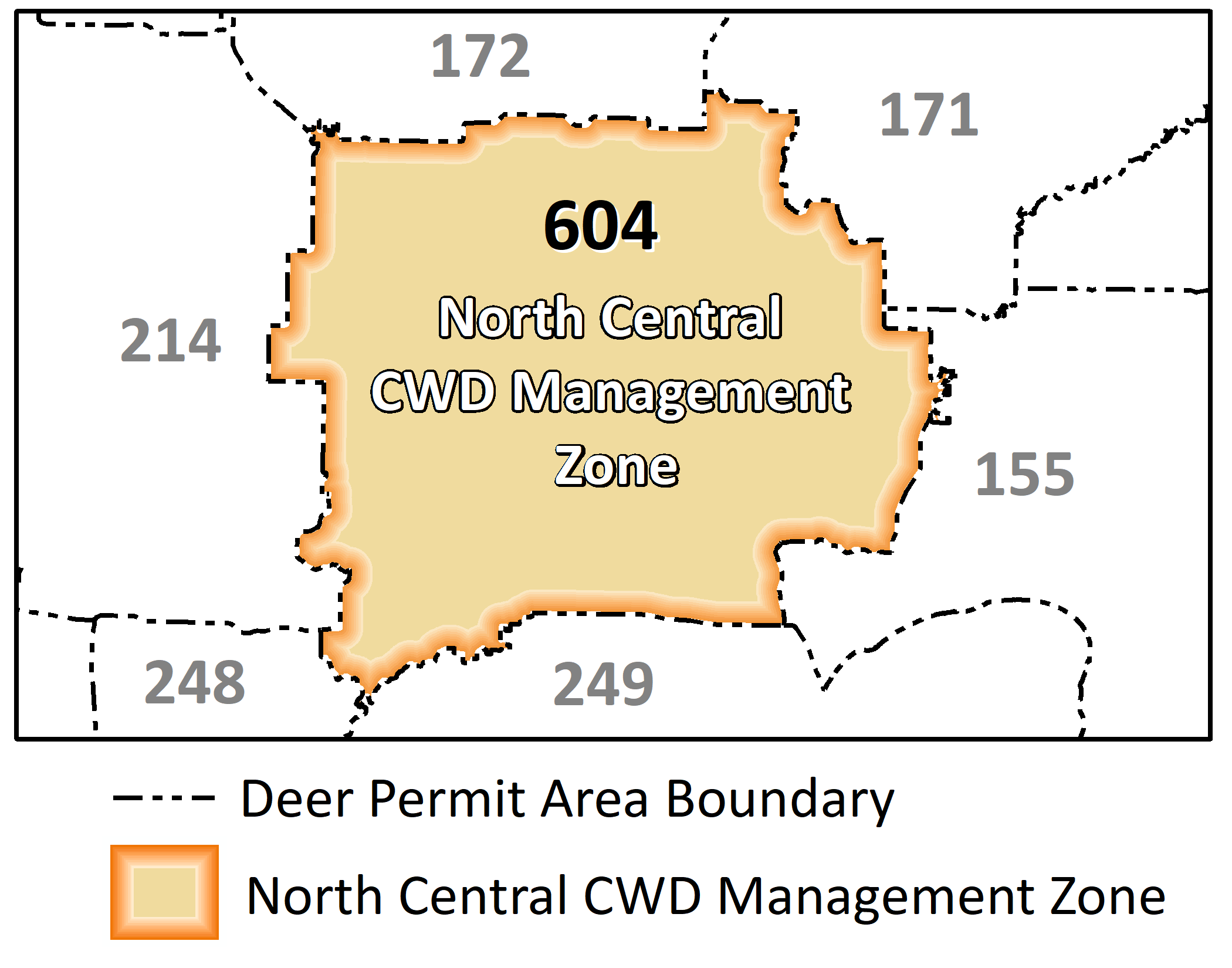 Map highlighting the DPA included in the north-central CWD control zone: 604.