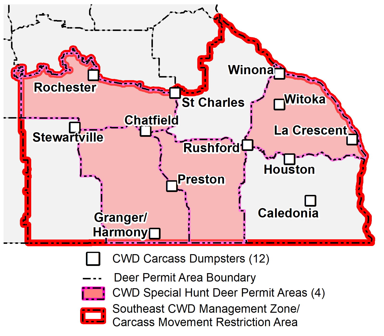 Map of carcass disposal locations for 2019 special hunts.