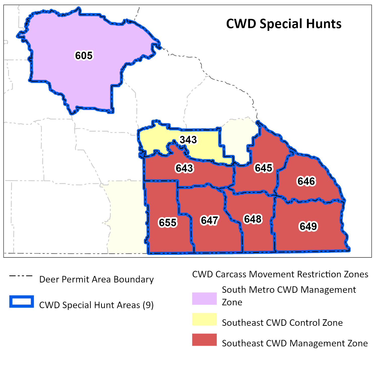 Map highlighting the DPAs included in the special hunts in SE Minnesota: 643, 646, 647, 648.
