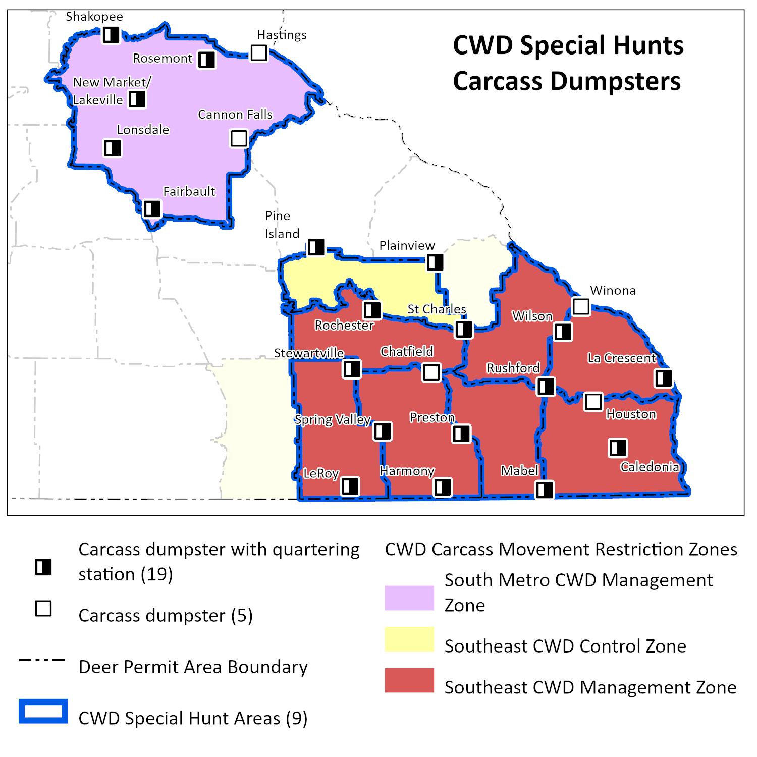 Map of carcass disposal locations for 2020 special hunts.