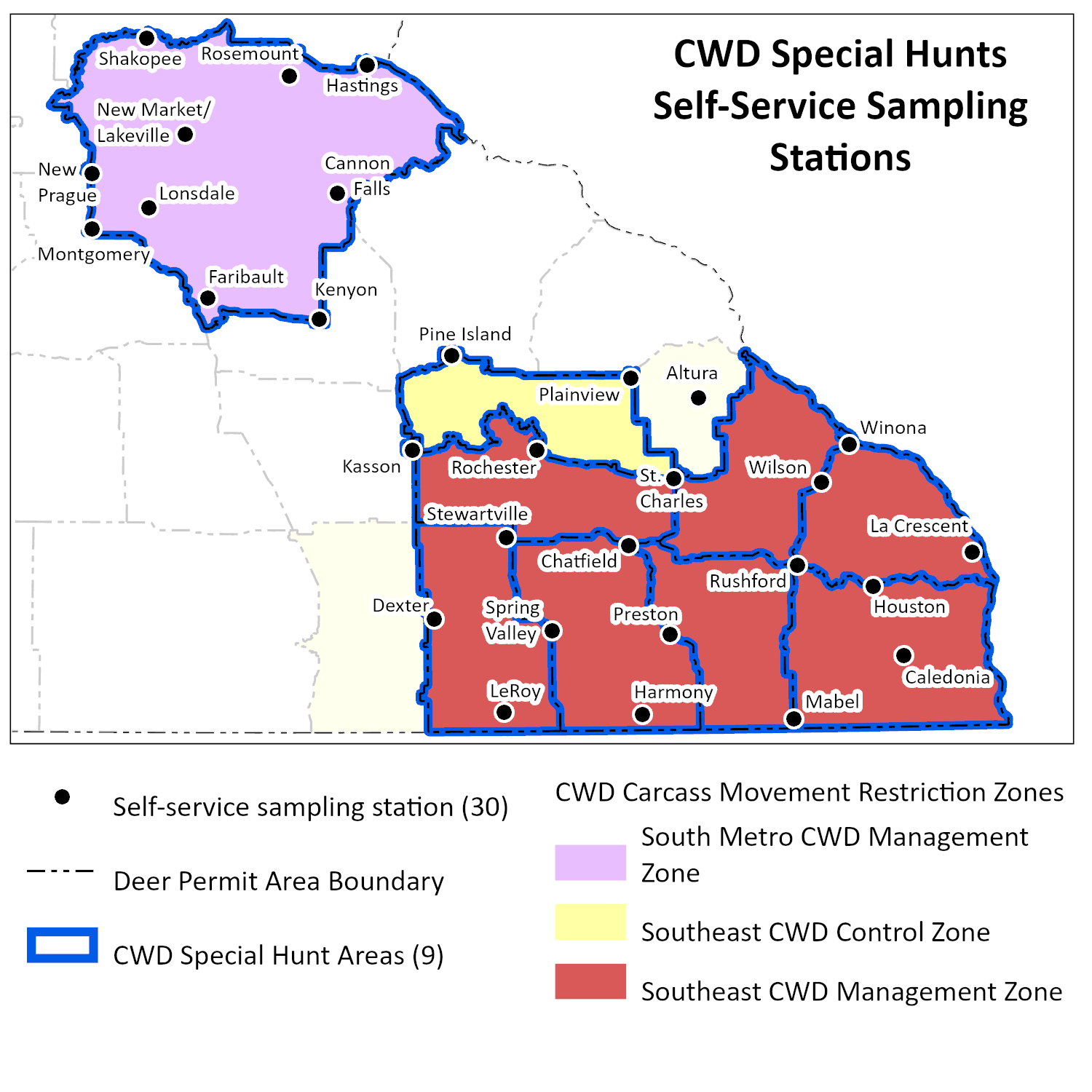Map showing sampling station locations for 2020 special hunts.