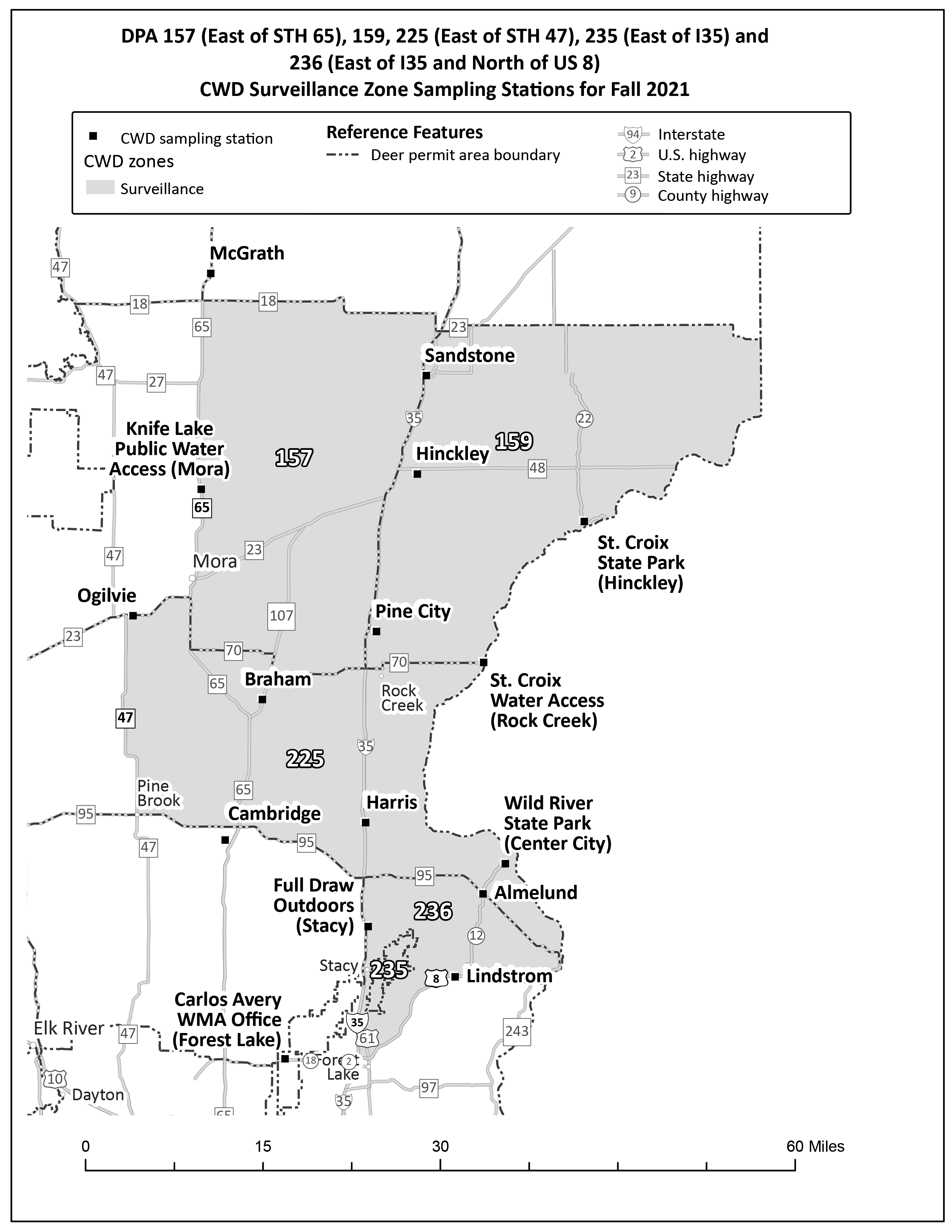 Map showing one section of the DPAs included in the CWD surveillance zone (with * denoting a portion of the DPA: DPAs 157*, 159, 225*, 235*, 236*) and the sampling stations.